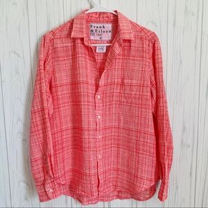 Frank & Eileen Red and White Button Up Blouse